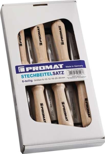 Stechbeitelsatz 6,10,12,16,20,26mm Weißbuchenh.Ulmer Form 6-tlg.Krt.PROMAT