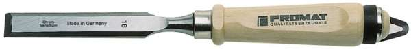 Stechbeitel Schneiden-B.12mm m.Zwinge Weißbuchenh.Ulmer Form CV-Stahl PROMAT