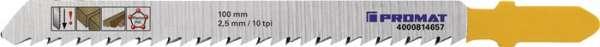 Stichsägeblatt Gesamt-L.100mm Zahnt.2,5mm S.1,27mm HCS 5 St./Karte PROMAT