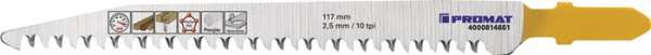 Stichsägeblatt Gesamt-L.117mm Zahnt.2,5mm HCS 5 St./Karte PROMAT