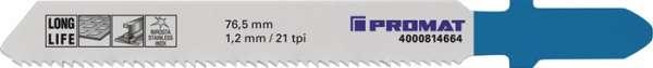 Stichsägeblatt Gesamt-L.76,5mm Zahnt.1,2mm BIM 5 St./Karte PROMAT