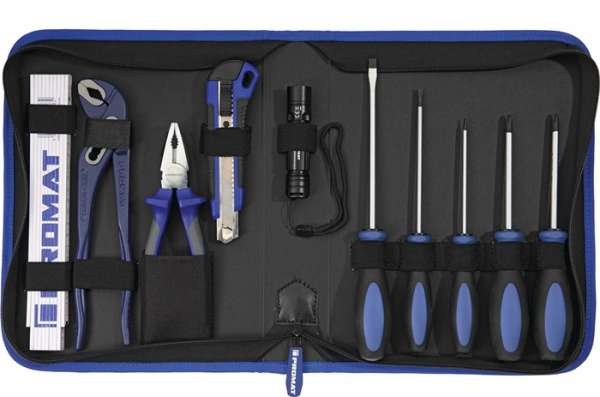 Werkzeugmappe Innen-B300xT60xH270mm 11-tlg.Polyester 500D schwarz/blau PROMAT