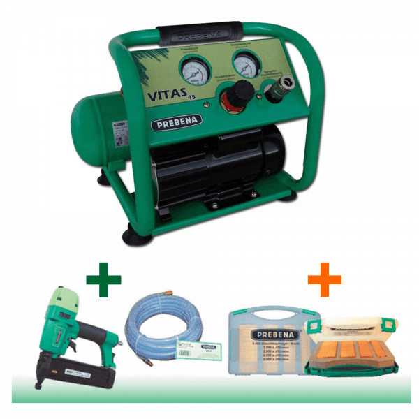 Prebena Kompressor Vitas 45 im Angebot + Druckluftnagler 2XR-J50 + Schlauchset Z200.25 + 1 J-Box