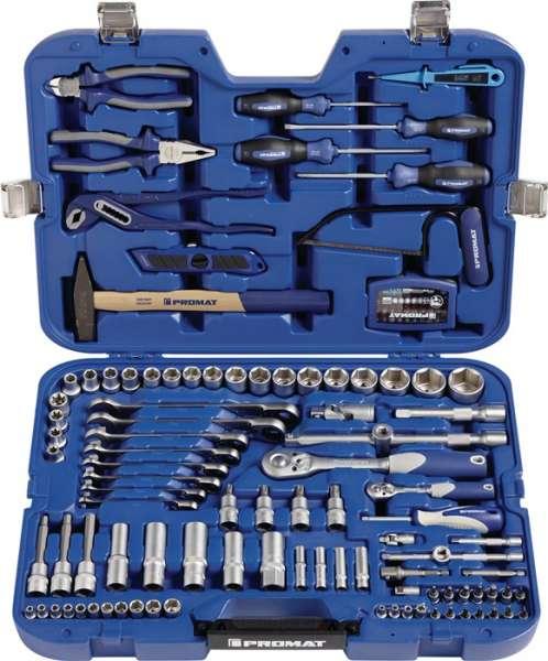 Steckschlüssel-/Handwerkzeugkoffer 131-tlg.m.Ring-Ratschenschlüsseln PROMAT